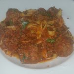 Meatball Tagliatelle with extra beef ragu -- awesome!