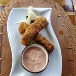 appetizer - Spiced Fish Goujons - $8 USD Spiced banana crumbs, pickled christophene, calypso dip