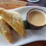 Appetizer - Vegetarian Phyllo - Callaloo, Ricotta, Sqaush, spicy Pepper Coulis $7USD