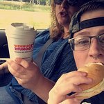 Enjoying dunkin from Mary and Jessie.
