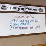 It's awesome to see Christian messages all around Cari's.  Breakfast arrived quickly and was del