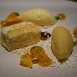 Mandarin parfait, white chocolate, timut pepper; aud18