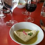 Terrine de Fromage Blanc, Coulis de Courgette (white cheese terrine which was made with mustard