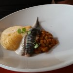 Filet de Maquereaux, Trio D'Haircots (mackerel served with three beans) served with a mush