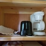 Coffee maker (Coffee not included) and a toaster. Cabin #208