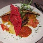 Vegetarian main - layered grilled vegetable 'cake'