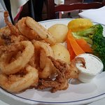 Fried Calamari, Tzatziki, Potatoes, Carrot and Broccoli