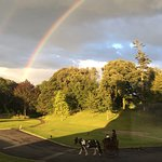 The view of the grounds from the dining room. We spotted this double rainbow, how special!