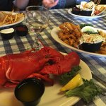 Front to back: Lobster was only $10 as addition to full meal -- and great! Clam strips terrific