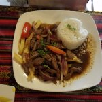 Stir fried beef with rice.