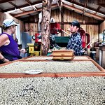 The coffee roasting facility. Coffee is for sale, along with other farm products.