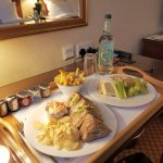 Room service - club sandwich served with crisps and cheese plate - both delicious.