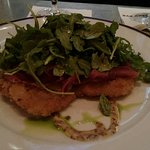 Fillet mignon and chicken cutlet with ham and mustard. Yummo food at the bar.