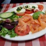 Salmon, avocado and mozzarella starter
