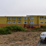 Back view of hotel from the beach