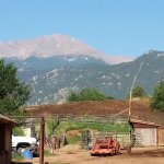 View of Pikes Peak from the waiting area before the ride at Academy Stables