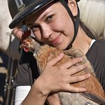My wife hugging a chicken :D