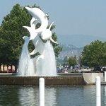 Kelowna's Dolphin Fountain looking west
