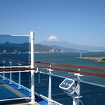 A view of majestic Mount Fuji from our ship's open deck