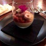 """TAHO"""" Pannacotta - Soy Milk, Almond, Sago & Rhubarb. Delicious!"""