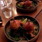 The A'meza sliders - 2 per serve - Soft-Shell Crab, Kimchi Cucumber, Spicy Coconut Sauce
