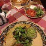 Chicken quesadilla (bottom) and veggie enchilada (top)
