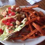 Yucatan Shrimp Tacos with Sweet Potato Fries
