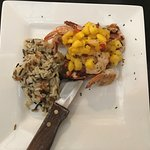 Grilled chicken and shrimp with mango salsa