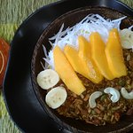 Super fresh and delicious lunch. This is the Buddha Fruit Bowl with Mango and Coconut flakes