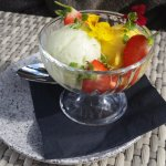 Tasty sorbets, beautifully presented.
