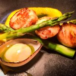 Pan fried scallops, carrot & miso puree, asparagus, black vinegar emulsion