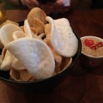 prawn crackers with chilli and peanut dip