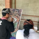 Local artists painting in front of the East Building, Puri Lukisan Museum