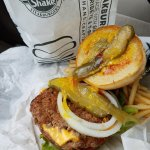 Steak N Shake Double Burger and some long pickles