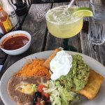Pork chimichanga dinner and margarita.