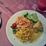 Indonesian Breakfast: Fried Noodle, Nasi Kuning (yellow rice), Chicken Curry
