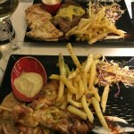 Chicken souvlaki and pork fillet