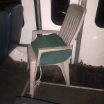 This was the seat I referred to...and held to in place by a rope / wire to a single leg.