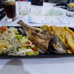 Grilled Black seabream with saute potatoes & salad, delicious!