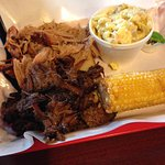 The combo plate, pulled pork and burnt ends.