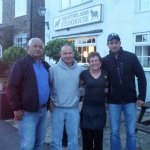 Suzanne with my overseas guests outside The Rythre Arms