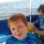 My son Kaden on the boat ride to sand dollar island