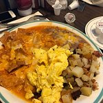 Shrimp Avocado Omlet and Chilaquiles and eggs.