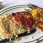 Blackened Chicken - not good, hard rice, bland corn, dry chicken
