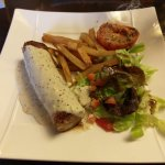 Andouillette with just a handful of chips. The sauce was nice.