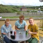 Mum and my boys on the back terrace of the Sands 2008
