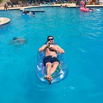 Chilling in the pool, inflatables were welcome.