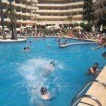 Splashing around all day long. Kids and adults enjoyed the large pool area for hours in the sun.
