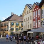 Square in Mondsee with shops and restaurants