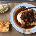 Daily Special - Burnt Ends on Mashed Potatoes with side of coleslaw and complimentary garlic che